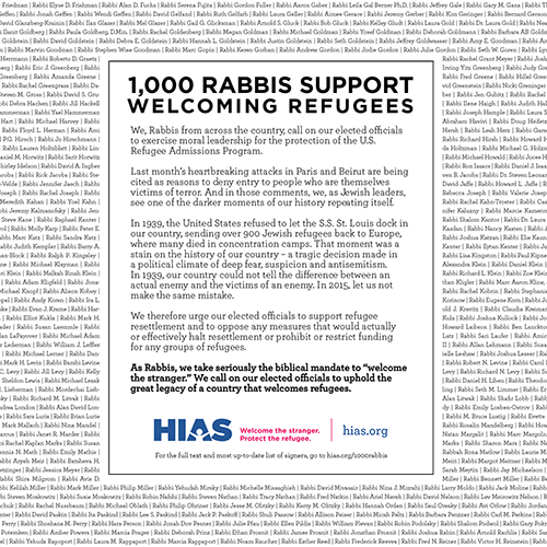 1000 rabbis sign national refugee letter press release join the jewish response to the global refugee crisis sign up now