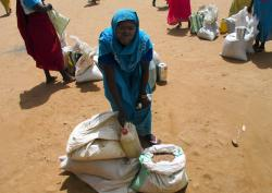 A woman collects the rations meant to last her family of eleven for a full month. Djabal refugee camp, Chad.