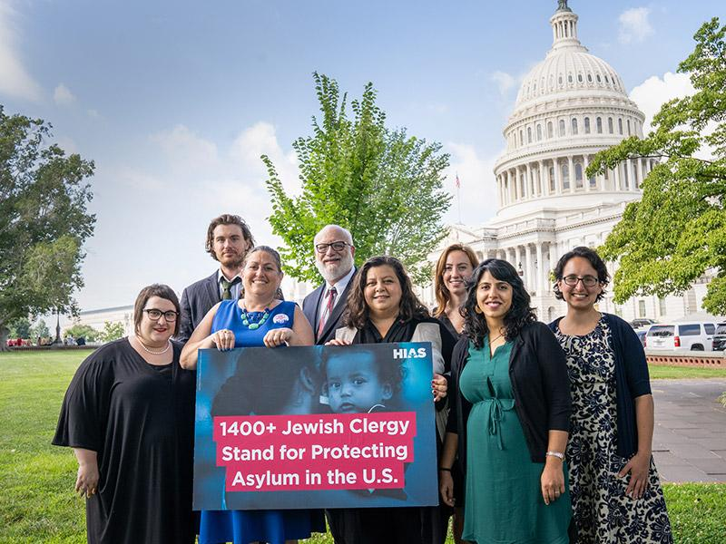 A group of advocates and rabbis visits Capitol Hill in Washington, D.C.  deliver a letter signed by more than 1400 Jewish clergy and explain the importance of maintaining the US asylum program, July 18, 2019. (Eric Kruszewski)