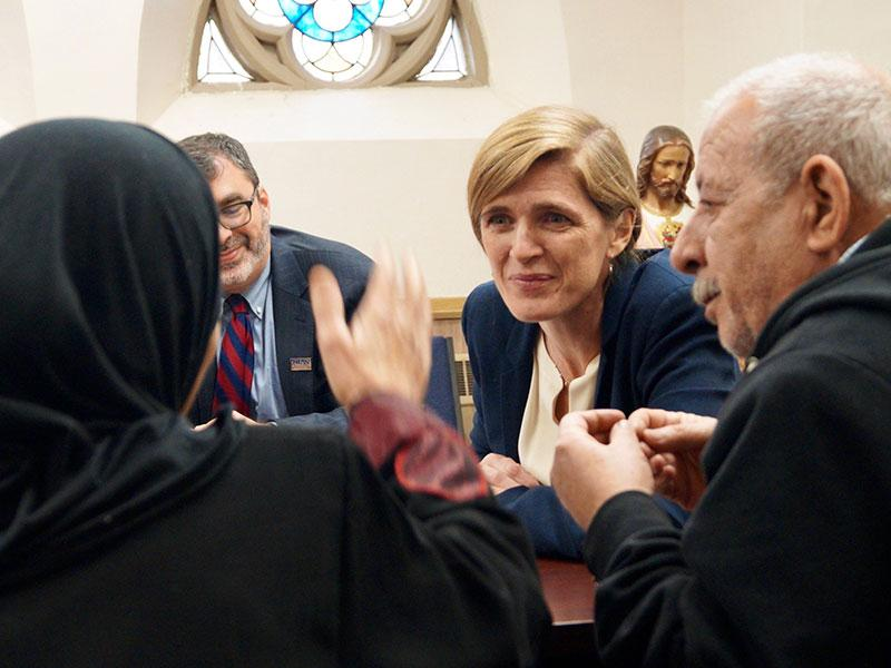 U.S. Ambassador to the United Nations Samantha Power visits with recently resettled Syrian refugees in Buffalo, NY, Nov 22, 2016.